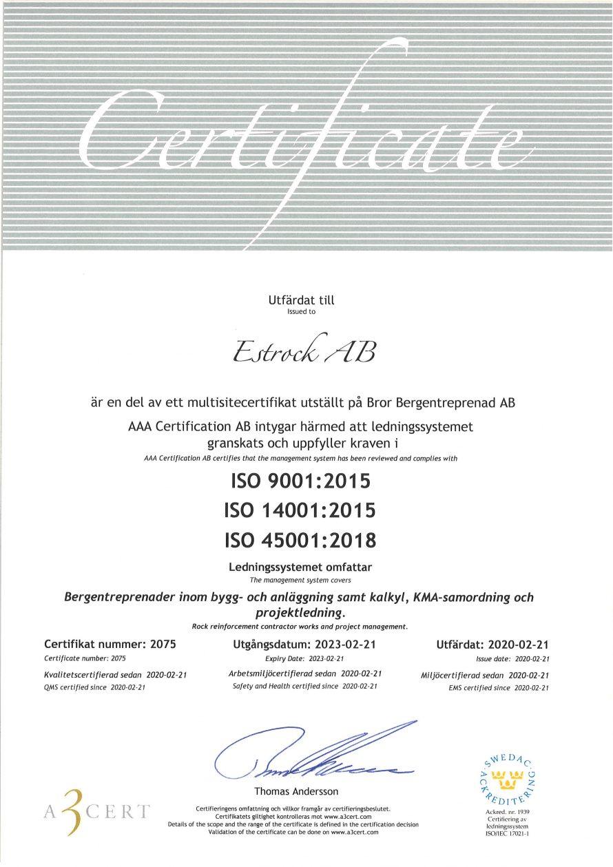 Certifikat Estrock